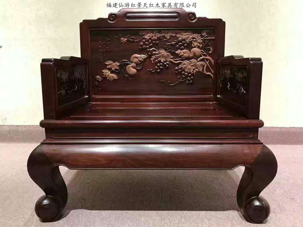 厂家红景天红木家具厂 ,根据故宫提供的图纸选用赞比亚血檀木,仿明清