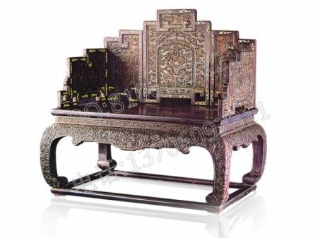 小叶紫檀雕龙如意宝座 龙椅