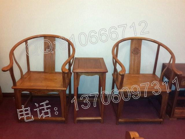 缅甸花梨圈椅 品名:缅甸花梨木圈椅三件套