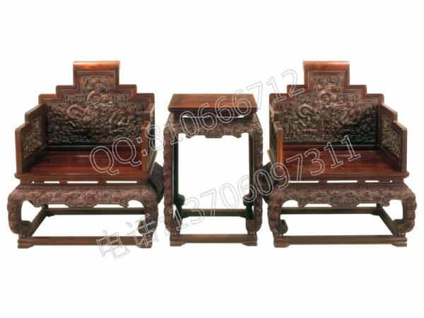 老挝大红酸枝雕龙宝座