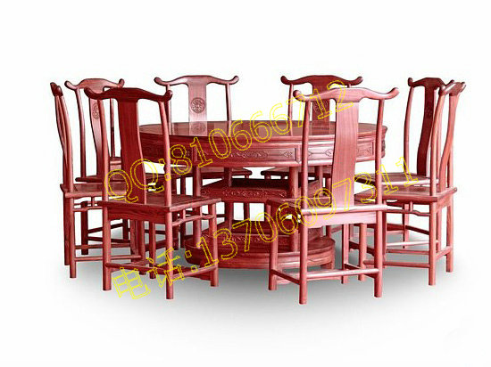 红酸枝圆形餐桌