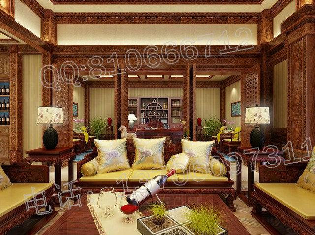 中式红木装修(中式风格)包括别墅客厅,餐厅,卧室等,进行布置,中式