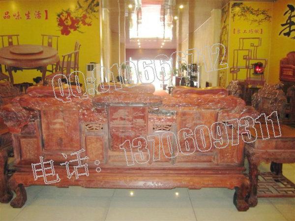 老挝大红酸枝狮子头沙发