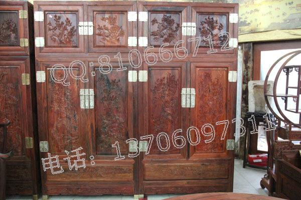 老挝大红酸枝衣柜,交趾黄檀衣柜,老红木衣柜,大红酸枝