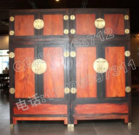 老挝大红酸枝独板顶箱柜 衣柜