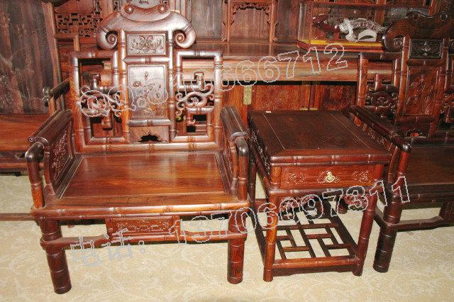 红景天红木家具厂生产老挝大红酸枝太师椅