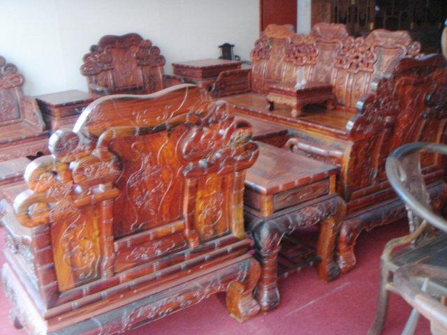 老挝大红酸枝竹节沙发