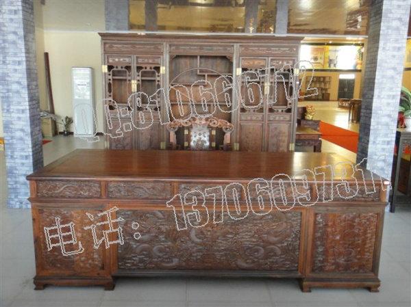 老挝大红酸枝雕龙办公桌 2.55米