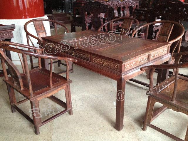 老挝大红酸枝圈椅泡茶桌
