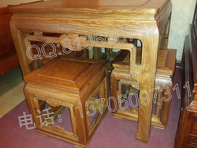 此套缅甸花梨木休闲桌5件套