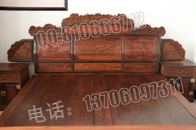 供应老挝大红酸枝高低床,红木家具