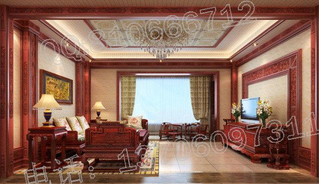 中式别墅装修效果图,中式别墅红木装修效果图