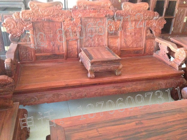 老挝大红酸枝沙发 十三件套 狮子头